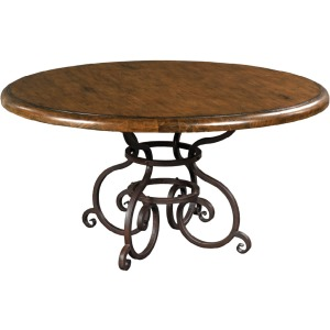 "Artisan\'s Shoppe Dining 60"" Round Dining Table - Metal Base - Tobacco"