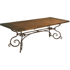 "Artisan\'s Shoppe Dining 94"" Rectangular Dining Table - Metal Base - Tobacco"