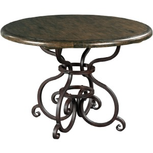 "Artisan\'s Shoppe Dining 44"" Round Dining Table - Metal Base - Black Forest"