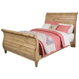 Homecoming Vintage Pine Sleigh King Bed