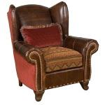 Corona Leather/Fabric Chair & Ottoman