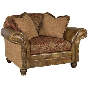 Katherine Leather/Fabric Chair &1/2