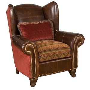 Corona Leather/Fabric Chair & Ottoman