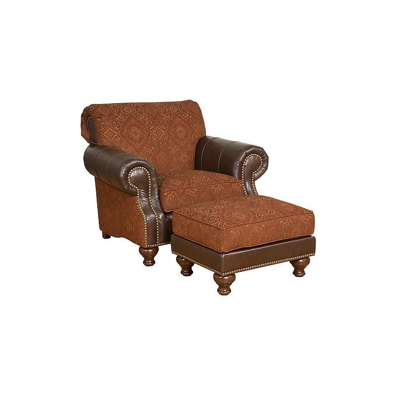 Lana Leather/Fabric Chair & Ottoman