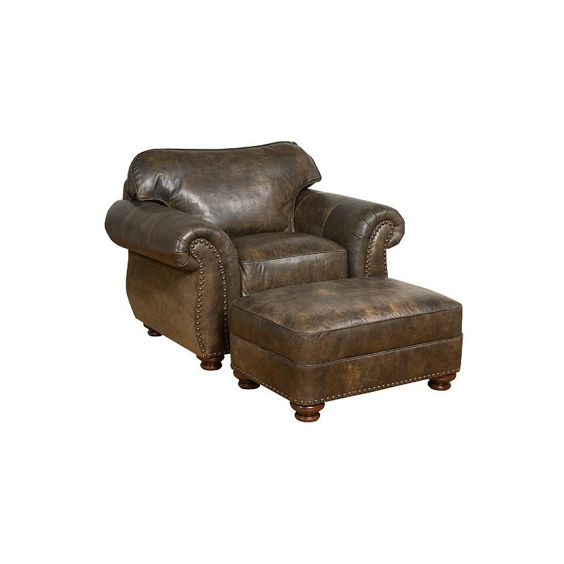 Tremendous Santana Leather Chair Ottoman By Hickory Manor 8001 L Andrewgaddart Wooden Chair Designs For Living Room Andrewgaddartcom