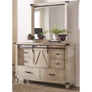 Barndoor Cream Dresser with Mirror