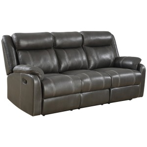 Domino Reclining Sofa w/Drop Down Table - Valor Carbon