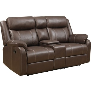 Domino Reclining Console Loveseat - Chocolate