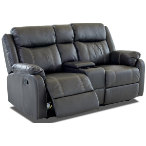 Domino Reclining Console Loveseat - Valor Carbon