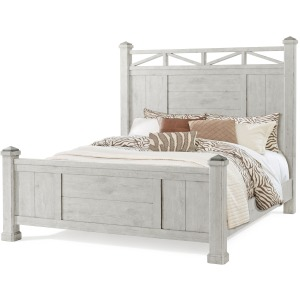 Coming Home King Poster Bed - Chalk