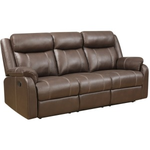 Domino Reclining Sofa w/Drop Down Table - Valor Chocolate