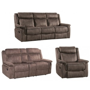 Kisner 3 PC Reclining Living Room Set - Lorenzo Brown