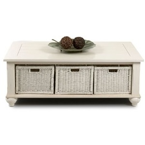 Treasures White Rectangular Cocktail Table