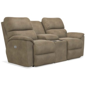 Brooks Power Reclining Loveseat w/ Headrest & Console