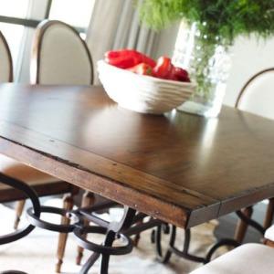 Artisans Shoppe 94in Rectangular Dining Table W/ Metal Base - Tobacco
