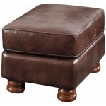 Dynamic Mocha Rectangular Ottoman (Stationary Leather)