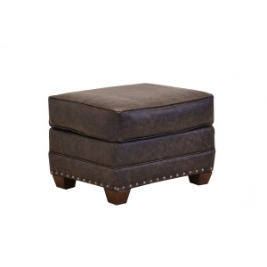 Madison Leather Ottoman w/Brass Nails