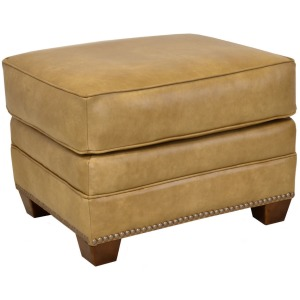Middleton Leather Ottoman w/Brass Nails