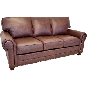 Madison Leather Sofa w/Brass Nails