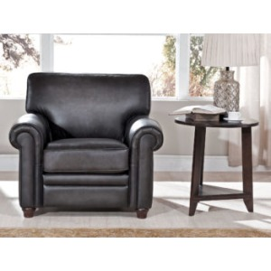 Chair in Oakley-Smoke (Stationary Leather)