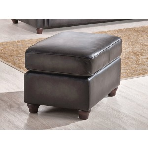 Ottoman in Oakley-Smoke (Stationary Leather)