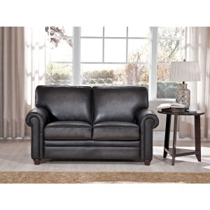 Love Seat in Oakley-Smoke (Stationary Leather)