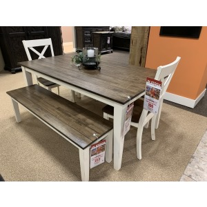 Table, 2 Benches, 2 Side Chairs