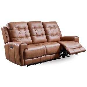 London Power Reclining Sofa - Caramel Brown