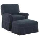 Slipcovered Swivel Chair & Ottoman