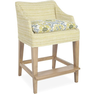 Slipcovered Campaign Counter Stool