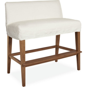 Slipcovered Dual Seat Counter Bench