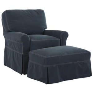 Slipcovered Swivel Chair & Ottoman