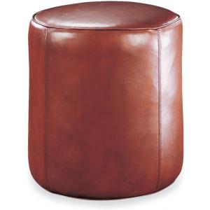 Leather Drum Ottoman