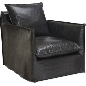 Leather Slipcovered Swivel Glider