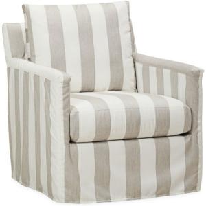 Seaside Outdoor Slipcovered Swivel Chair