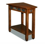 Rustic Oak Slate Tile Wedge Side Table