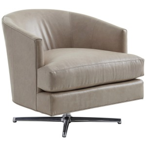 Graves Leather Swivel Chair with Polished Chrome Base