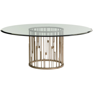 Rendezvous Round Metal Dining Table With 72 Inch Glass Top