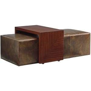 Broadway Leather Cocktail Ottoman with Slide