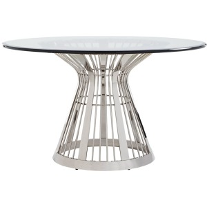 Riviera Stainless Dining Table With 54 Inch Glass Top