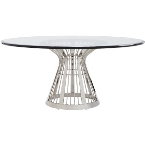 Riviera Stainless Dining Table With 72 Inch Glass Top