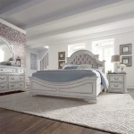 Magnolia Manor King Uph Bed, Dresser & Mirror, Night Stand