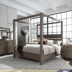 Sonoma Road King Canopy Bed, Dresser & Mirror, Chest, Nightstand