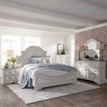 Magnolia Manor King Panel Bed, Dresser & Mirror, Chest, Night Stand