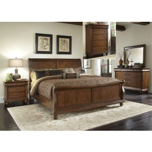 Rustic Traditions Queen Sleigh Bed, Dresser & Mirror, Chest, Night Stand