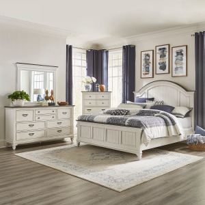 Allyson Park King Arched Panel Bed, Dresser & Mirror, Chest