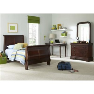 Carriage Court Twin Sleigh Bed, Dresser & Mirror