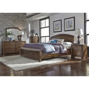 Avalon King Panel Storage Bed, Dresser & Mirror, Night Stand