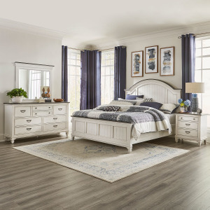 Allyson Park King Arched Panel Bed, Dresser & Mirror, Night Stand