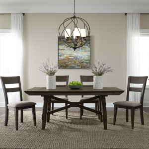 Double Bridge 5 Piece Trestle Table Set